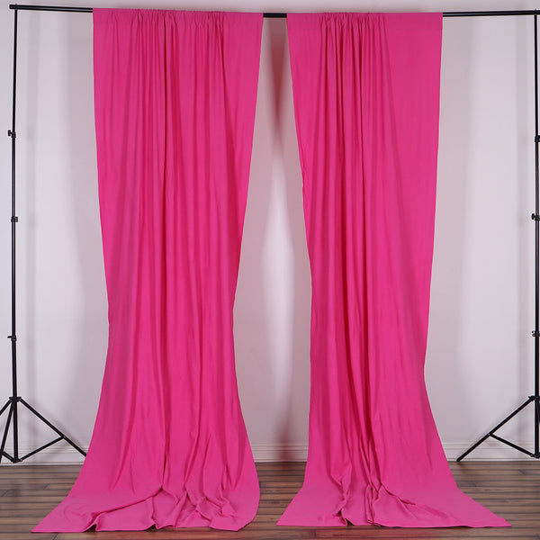 Pack of 2 | 5FTx10FT Fushia Fire Retardant Polyester Curtain Panel Backdrops With Rod Pockets