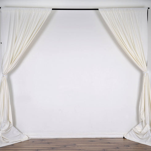 10FT Ivory Polyester Fire Retardant Curtain Stage Backdrop Partition - Premium Collection