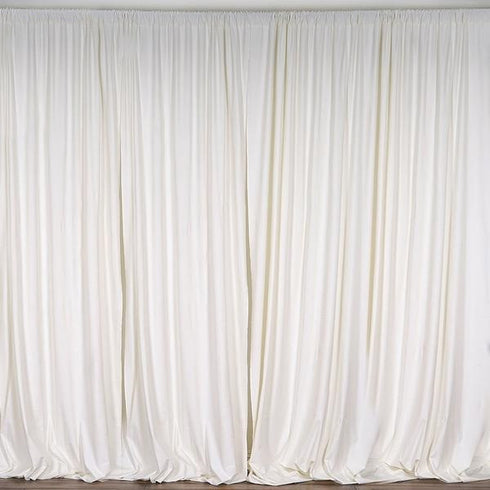 Set Of 2 Ivory Fire Retardant Polyester Curtain Panel Backdrops With Rod Pockets - 5FTx10FT