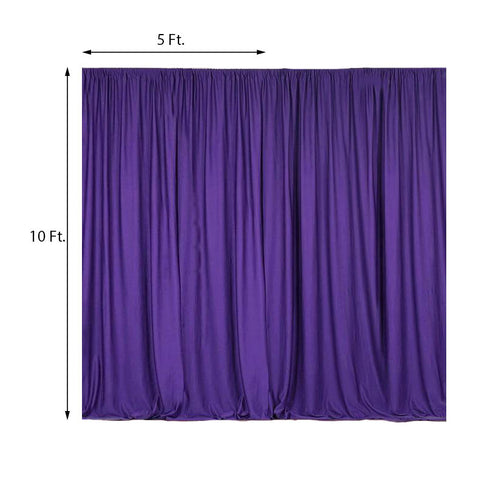 Pack of 2 | 5FTx10FT Purple Fire Retardant Polyester Curtain Panel Backdrops With Rod Pockets