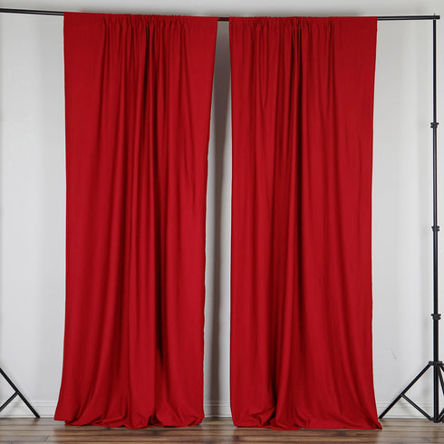 10FT Red Polyester Wrinkle Free Curtain Stage Backdrop Partition - Premium Collection