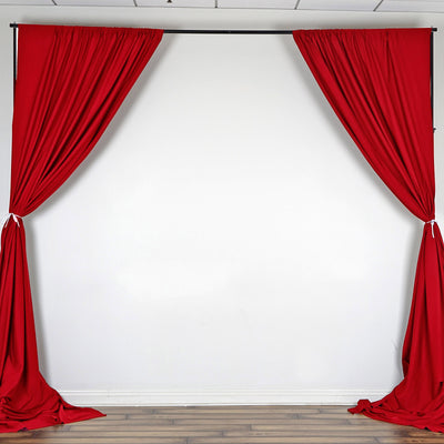 Set Of 2 Red Fire Retardant Polyester Curtain Panel Backdrops With Rod Pockets - 5FTx10FT