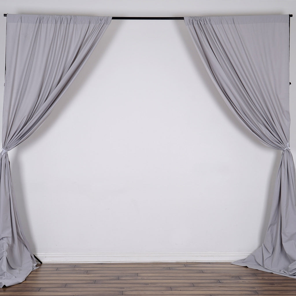 10FT Silver Scuba Polyester Wrinkle Free Curtain Stage Backdrop Partition - Premium Collection