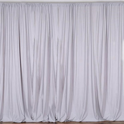 Set Of 2 Silver Fire Retardant Polyester Curtain Panel Backdrops With Rod Pockets - 5FTx10FT