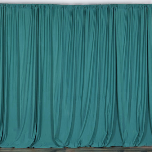 Set Of 2 Turquoise Fire Retardant Polyester Curtain Panel Backdrops With Rod Pockets - 5FTx10FT