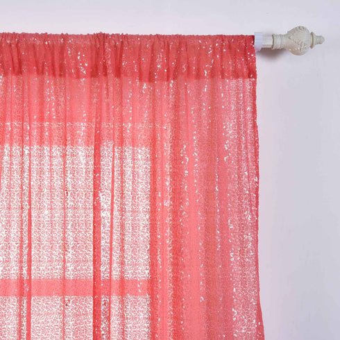 "Glitzy Sequin Curtains 52x108"" Coral Pack of 2 Window Treatment Panels With Rod Pockets"