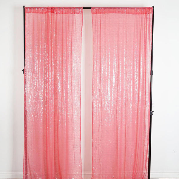 "Pack of 2 | 52""x108"" Coral Sequin Curtains With Rod Pocket Window Treatment Panels"