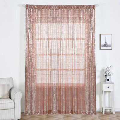 "2 Pack | 52""x108"" Sequin Curtains With Rod Pocket Window Treatment Panels - Rose Gold 