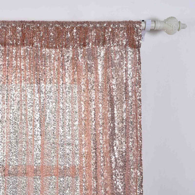 "Glitzy Sequin Curtains 52x108""  Pack of 2 Window Treatment Panels With Rod Pockets- Rose Gold 