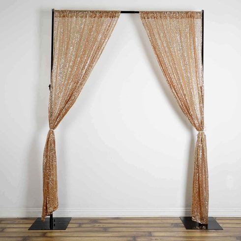 Pack of 2 | 9FT | Gold | Sequin Backdrops Curtain Panel With Rod Pockets