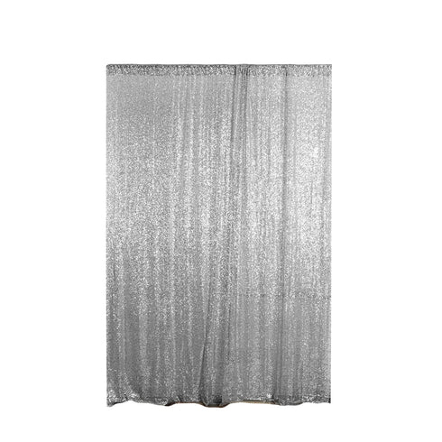 Pack of 2 | 9FT | Silver | Sequin Backdrops Curtain Panel With Rod Pockets
