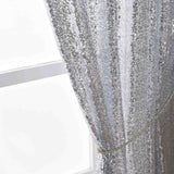 "Glitzy Sequin Curtains 52x108"" Silver Pack of 2 Window Treatment Panels With Rod Pockets"