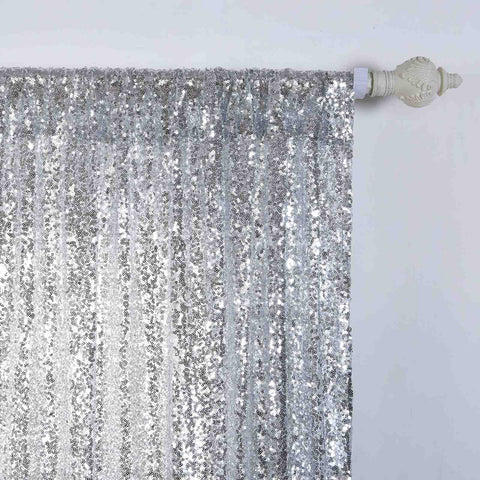 Glitzy Sequin Curtains 52x108 Silver Pack Of 2 Window Treatment Panels With Rod Pockets