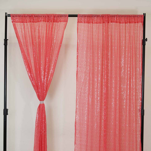 "Glitzy Sequin Curtains 52x64"" Coral Pack of 2 Window Treatment Panels With Rod Pockets"