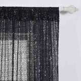 "Glitzy Sequin Curtains 52x64"" Black Pack of 2 Window Treatment Panels With Rod Pockets"