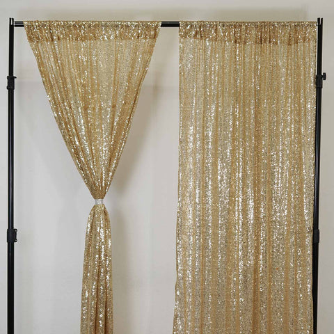 Glitzy Sequin Curtains 52x64 Champagne Pack Of 2 Window Treatment Panels With Rod Pockets