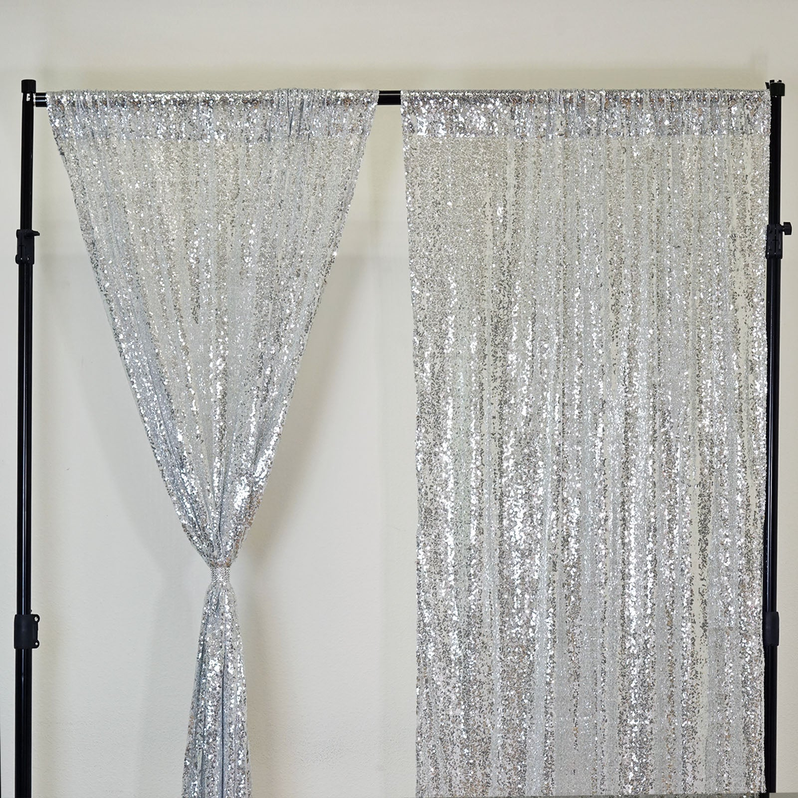 Glitzy Sequin Curtains 52x64 Silver Pack Of 2 Window Treatment Panels With Rod Pockets
