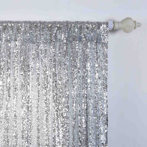 "Glitzy Sequin Curtains 52x64"" Silver Pack of 2 Window Treatment Panels With Rod Pockets"
