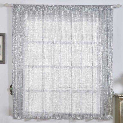 "2 Pack | 52""x64"" Silver Sequin Curtains With Rod Pocket Window Treatment Panels"