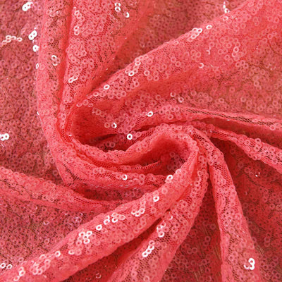 "Glitzy Sequin Curtains 52x84"" Coral Pack of 2 Window Treatment Panels With Rod Pockets"