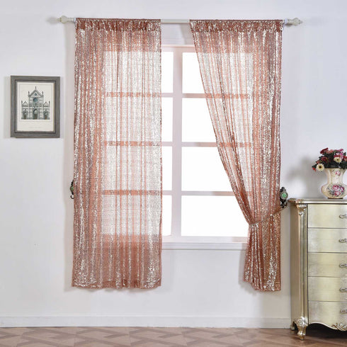 "Glitzy Sequin Curtains 52x84""  Pack of 2 Window Treatment Panels With Rod Pockets- Rose Gold 