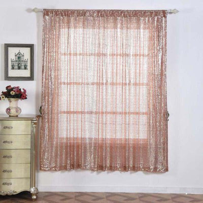 "2 Pack | 52""x84"" Sequin Curtains With Rod Pocket Window Treatment Panels - Rose Gold 