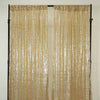 "Glitzy Sequin Curtains 52x84"" Champagne Pack of 2 Window Treatment Panels With Rod Pockets"