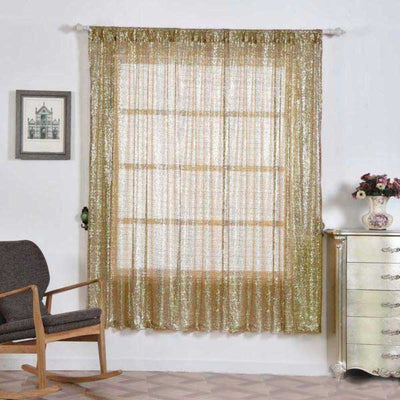 "2 Pack | 52""x84"" Champagne Sequin Curtains With Rod Pocket Window Treatment Panels"