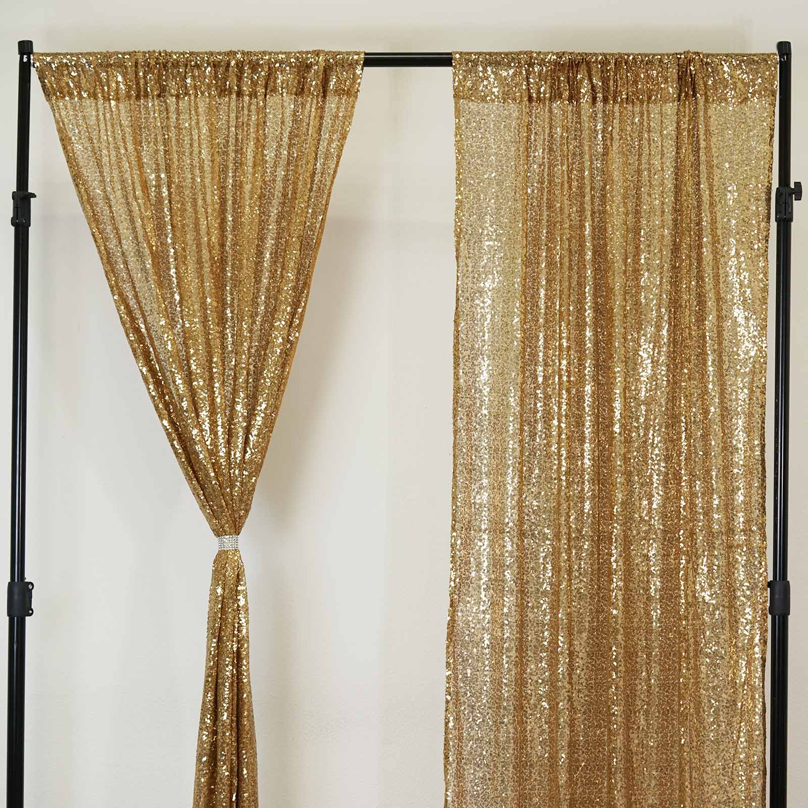 Glitzy Sequin Curtains 52x84 Gold Pack Of 2 Window Treatment Panels With Rod Pockets
