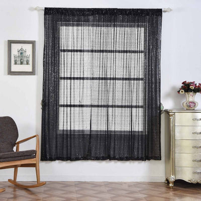 "2 Pack | 52""x96"" Black Sequin Curtains With Rod Pocket Window Treatment Panels"