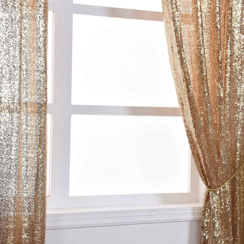 "Glitzy Sequin Curtains 52x96"" Champagne Pack of 2 Window Treatment Panels With Rod Pockets"