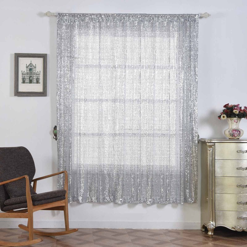 Glitzy Sequin Curtains 52x96 Silver Pack Of 2 Window Treatment Panels With Rod Pockets
