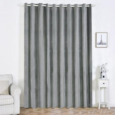 "2 Pack | 52""X108"" Charcoal Grey Premium Velvet Thermal Blackout Curtains With Chrome Grommet Window Treatment Panels"
