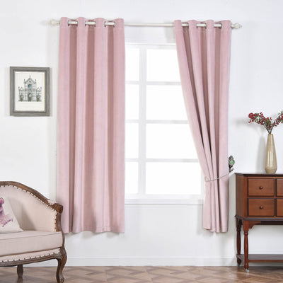 "Blackout Curtains Premium Velvet 52""X108"" Blush Pack of 2 Thermal Insulated With Chrome Grommet Window Treatment Panels"