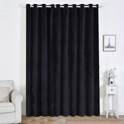 "2 Pack | 52""X108"" Black Premium Velvet Thermal Blackout Curtains With Chrome Grommet Window Treatment Panels"