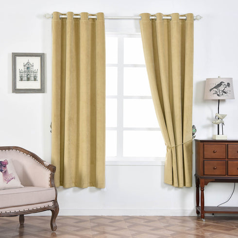 "Pack of 2 | 52""X108"" Champagne Premium Velvet Thermal Blackout Curtains With Chrome Grommet Window Treatment Panels"