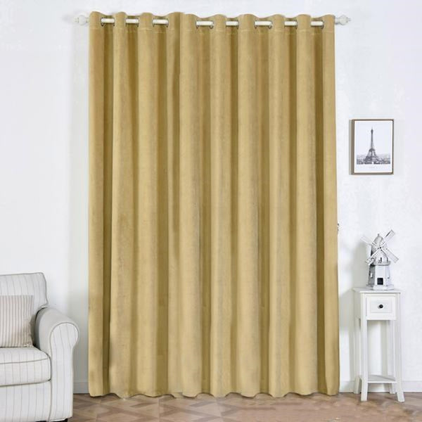 "Pack of 2 | 52""X108"" Champagne 330 GSM Premium Velvet Thermal Blackout Curtains With Chrome Grommet Window Treatment Panels"