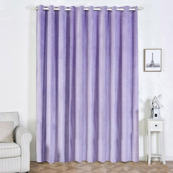 "Pack of 2 | 52""X108"" Lavender 330 GSM Premium Velvet Thermal Blackout Curtains With Chrome Grommet Window Treatment Panels"