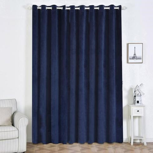 "2 Pack | 52""X108"" Navy Blue Premium Velvet Thermal Blackout Curtains With Chrome Grommet Window Treatment Panels"