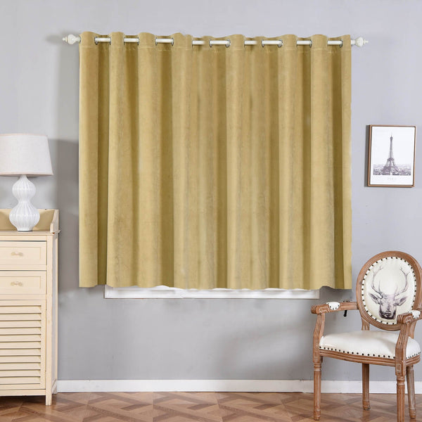 "Pack of 2 | 52""X64"" Champagne 330 GSM Premium Velvet Thermal Blackout Curtains With Chrome Grommet Window Treatment Panels"