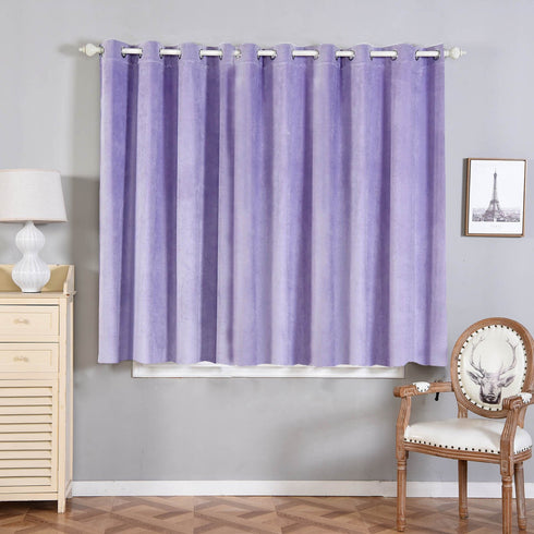 "2 Pack | 52""X64"" Lavender Premium Velvet Thermal Blackout Curtains With Chrome Grommet Window Treatment Panels"