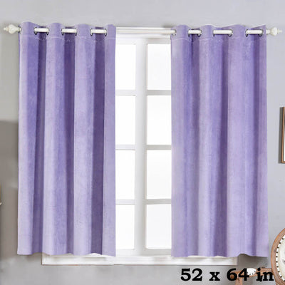"Blackout Curtains Premium Velvet 52""X64"" Lavender Pack of 2 Thermal Insulated With Chrome Grommet Window Treatment Panels"