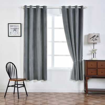 "Blackout Curtains Premium Velvet 52""X84"" Charcoal Grey Pack of 2 Thermal Insulated With Chrome Grommet Window Treatment Panels"