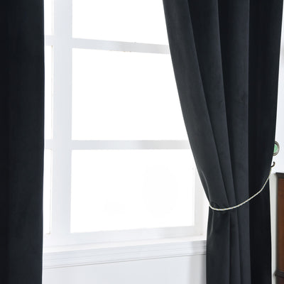 "Blackout Curtains Premium Velvet 52""X84"" Black Pack of 2 Thermal Insulated With Chrome Grommet Window Treatment Panels"