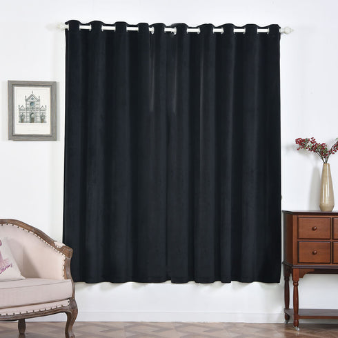 "2 Pack | 52""X84"" Black Premium Velvet Thermal Blackout Curtains With Chrome Grommet Window Treatment Panels"