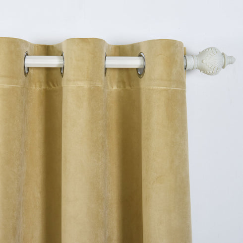 "Blackout Curtains Premium Velvet 52""X84"" Champagne Pack of 2 Thermal Insulated With Chrome Grommet Window Treatment Panels"