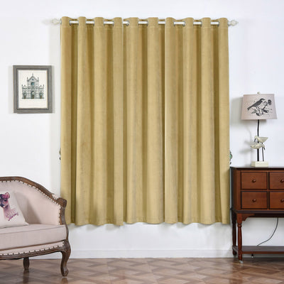"2 Pack | 52""X84"" Champagne Premium Velvet Thermal Blackout Curtains With Chrome Grommet Window Treatment Panels"