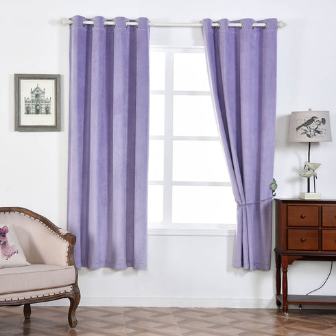 "Pack of 2 | 52""X84"" Lavender Premium Velvet Thermal Blackout Curtains With Chrome Grommet Window Treatment Panels"