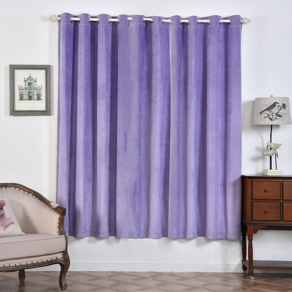 "Pack of 2 | 52""X84"" Lavender 330 GSM Premium Velvet Thermal Blackout Curtains With Chrome Grommet Window Treatment Panels"