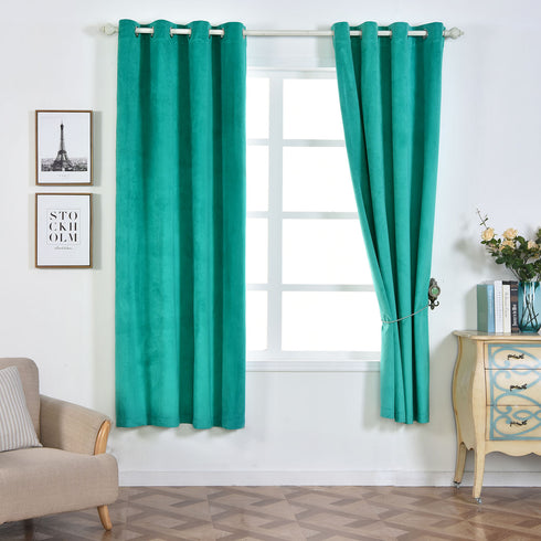 "Pack of 2 | 52""X84"" Teal Premium Velvet Thermal Blackout Curtains With Chrome Grommet Window Treatment Panels"